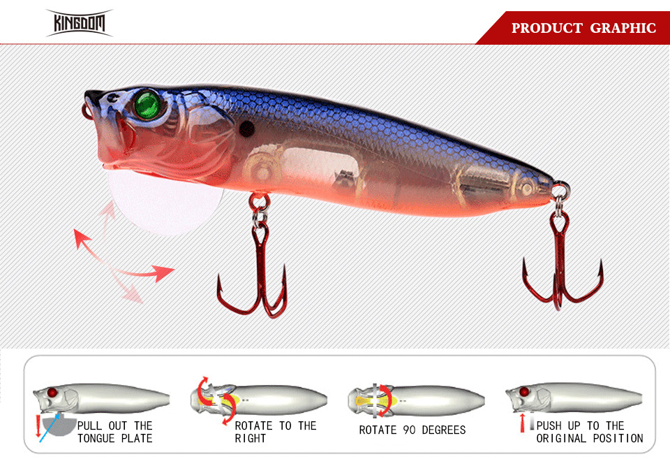 Kingdom Fishing Lures Hard Bait Topwater Popper Switchable Tongue Plate 70mm 9.5g 90mm 16g 110mm 33g Artificial Baits Model 5367 (1)