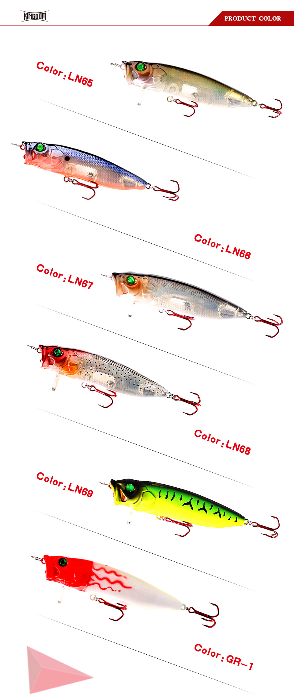 Kingdom Fishing Lures Hard Bait Topwater Popper Switchable Tongue Plate 70mm 9.5g 90mm 16g 110mm 33g Artificial Baits Model 5367 (6)