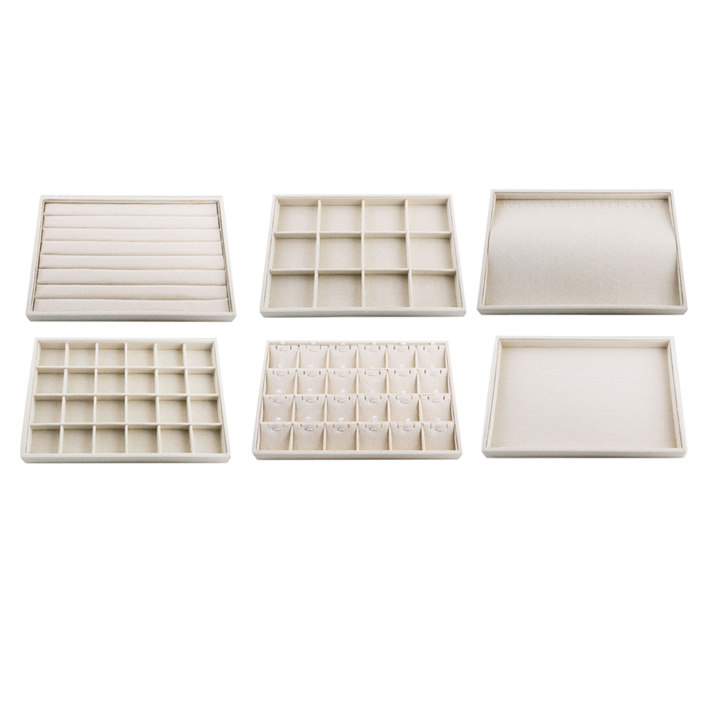 Linen Jewelry Organizer Trays Stackable Necklace Showcase Jewellery Display Ring Storage Tray Portable Jewelry Tray