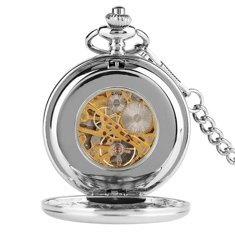 New Arrival Smooth Design Double Full Hunter Skeleton Mechanical Pocket Watch for Men Steampunk Silver Hand Winding Watches (6)