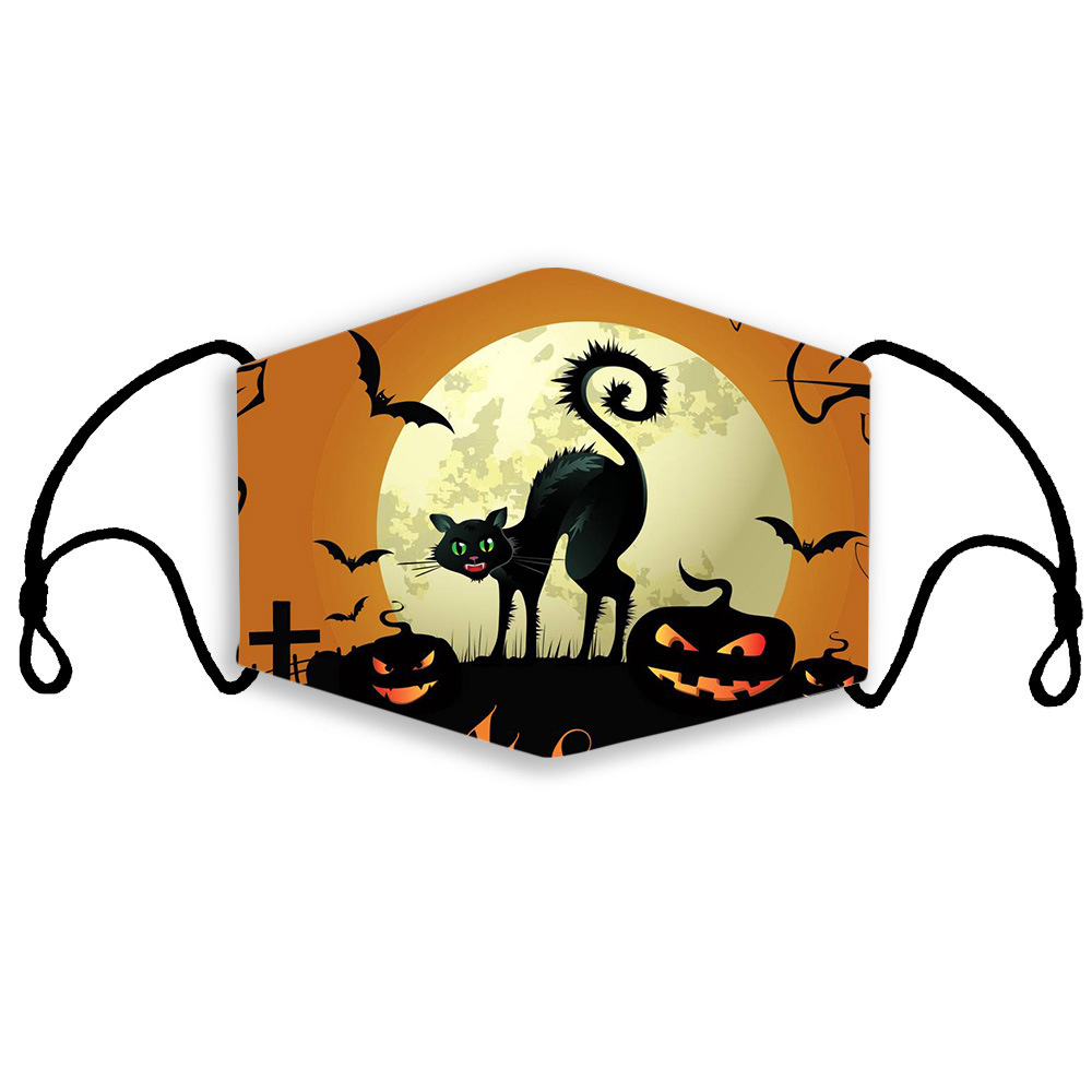 Halloween kidface mask fashion cotton reusable face masks pumpkin castle festival mask dust windproof adjustable facemask