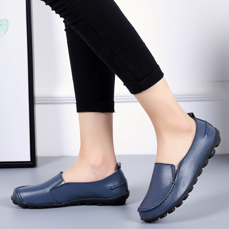 2020 Spring Autumn Plus Size Casual Round Toe Women`s Shoes New PU Leather Flat Shoes Comfortable Slip-on Ladies Flats VT998 (14)