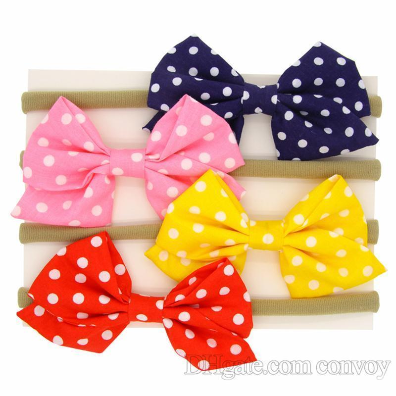 New Baby Girls Headbands Elastic Polka Dot Bow Headband Children Kids Hair Accessories Baby Girls Nylon Bowknot Hairbands Headwear KHA498