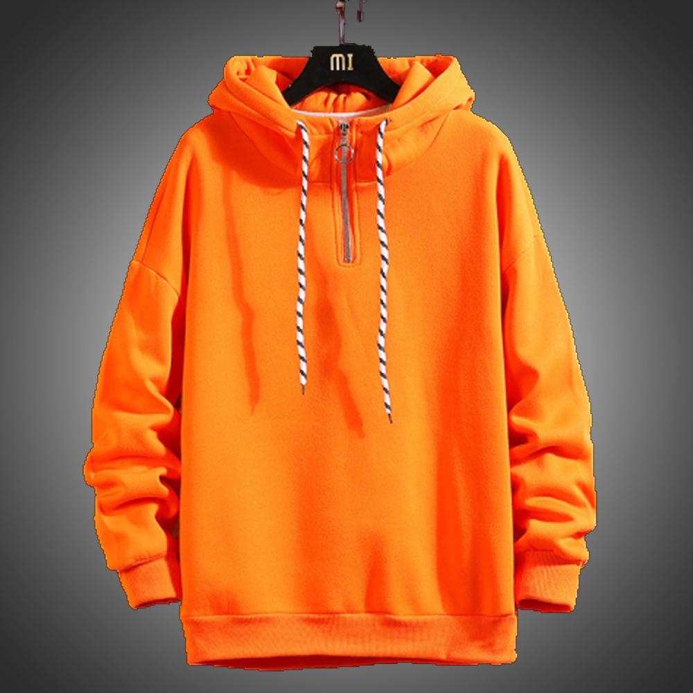 Autumn Winter Thick Men Streetwear Hoodies Sweatshirts Pure Color Hoodies Orange Pullover Warm Fleece Hoodies Men Fashion Tops