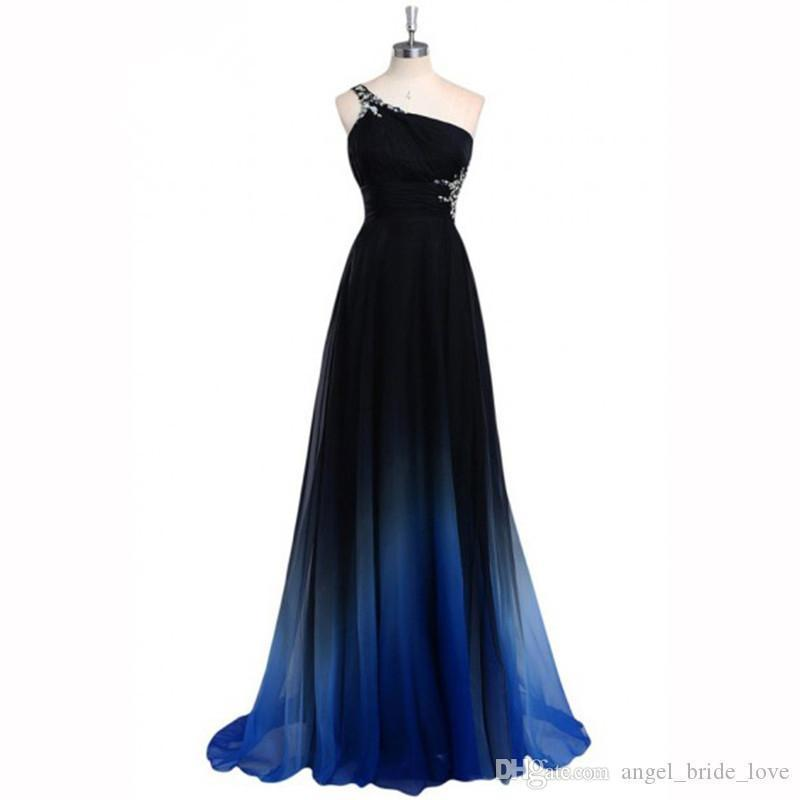 2018 New Real Photo Latest Ombre Prom Dress One Shoulder Gradient Evening Dresses Beads Special Occasion Dress Q85