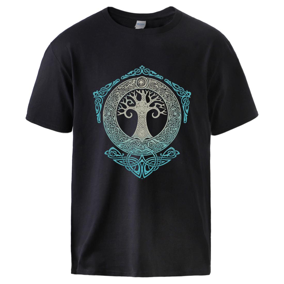 Vikings Tshirts for Man Yggdrasil Norse Mythology Summer Cotton T shirts Tee Male Casual Short Sleeve Crewneck Sportswear Tee