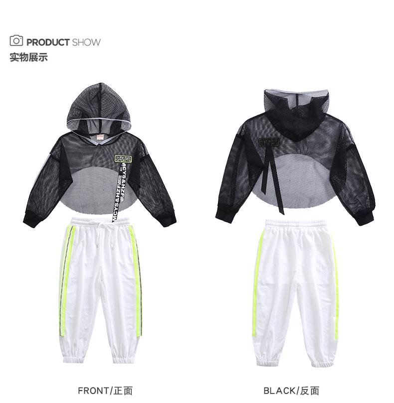 Toddler Girls Oversize Full Sleeve Hoodies Hip Hop Ballroom Jazz Dance Costumes Kids Boy Skirttrousers Clothing Set Team Wear (16)