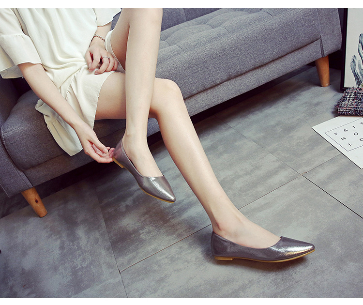 glitter sequins cloth flats shoes gold/silver pointed toe shallow scoop shoes woman comfortable soft soled non-slip moccasins