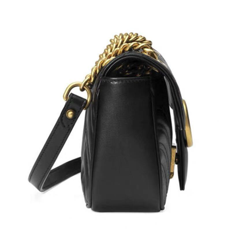 Luxury Marmont bag 443497 Luxury Handbags Designer Handbags Original soft Sheepskin Genuine Leather women Shoulder fashion Bee Bags