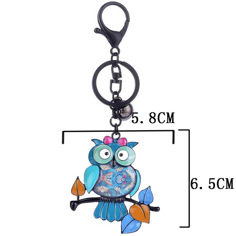 Cring Coco Personalized Cartoon Owl Standing on Branch Keychain for Women Cute Girls Car Pendant Key Chain Rings Charms Trinket