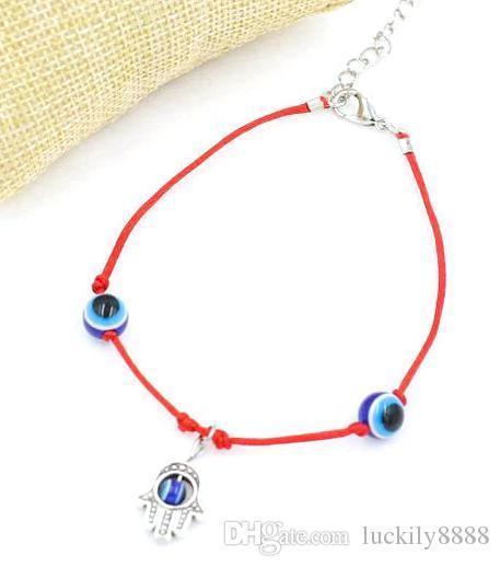 Hamsa Hand Evil Eye Pendant Anklets Women Boho Ankle Red Thread BraceletWholesale
