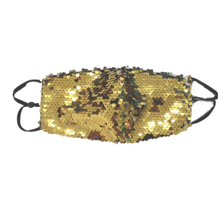 New Bling Bling Sequin Protective Mask Fashion ice Silk Dustproof Washable Windproof Reuse Glitter Face Mask Elastic Earloop Mouth Masks