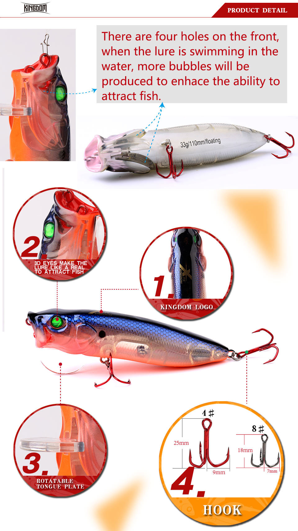 Kingdom Fishing Lures Hard Bait Topwater Popper Switchable Tongue Plate 70mm 9.5g 90mm 16g 110mm 33g Artificial Baits Model 5367 (3)