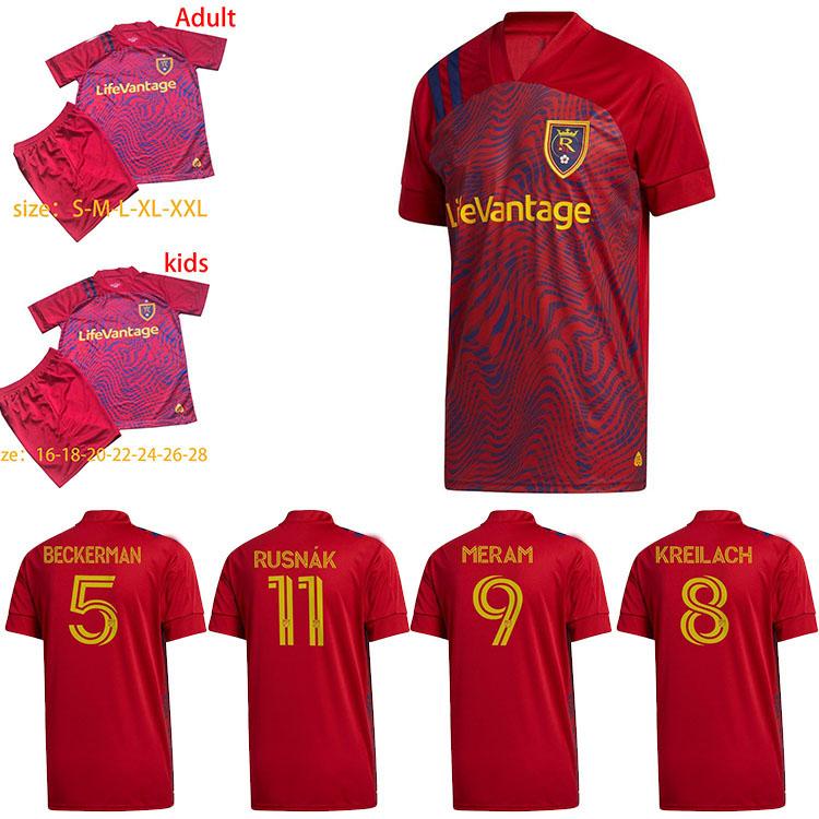 2020 2021 Real Soccer Jerseys Salt 20/21 MLS BECKERMAN MERAM Uniform Mens Real RED Lake #11 RUSNAK KREILACH KIT Salt Football Shirts