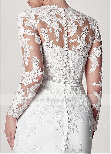 Modest-V-Neck-Lace-Wedding-Dresses-Long-Sleeve-Illusion-Appliques-Mermaid-Plus-Size-Bridal-Gowns-2019 (3)