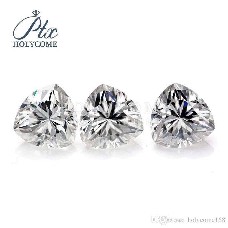 High quality triangle cut 10*10mm 4ct synthetic white DEF color loose moissanite stones for jewelry making