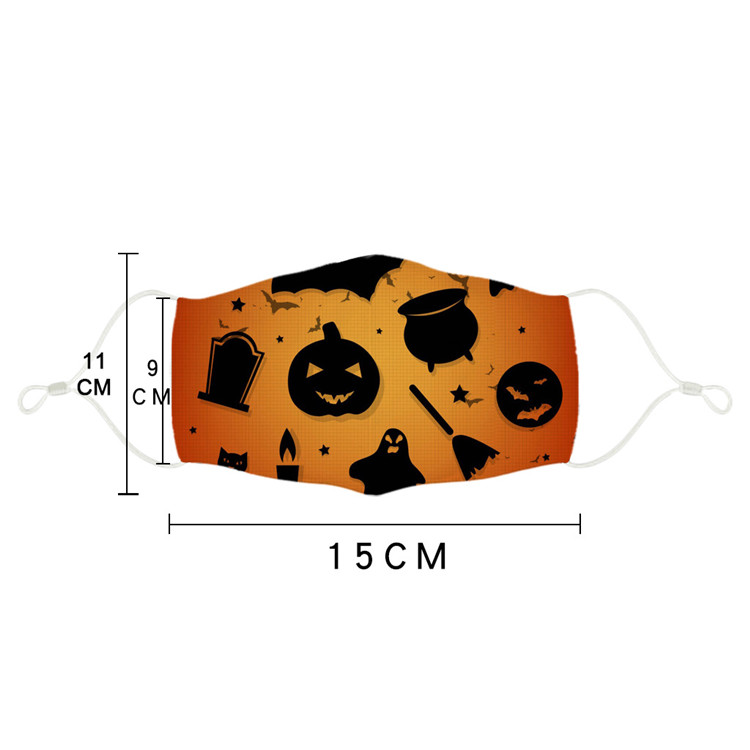 Kids Halloween Party Masks 2020 3D Printed Pumpkin Witch Ghost Pattern Children Face Mask Washable Reusable Cotton Mouth Cover FY9186