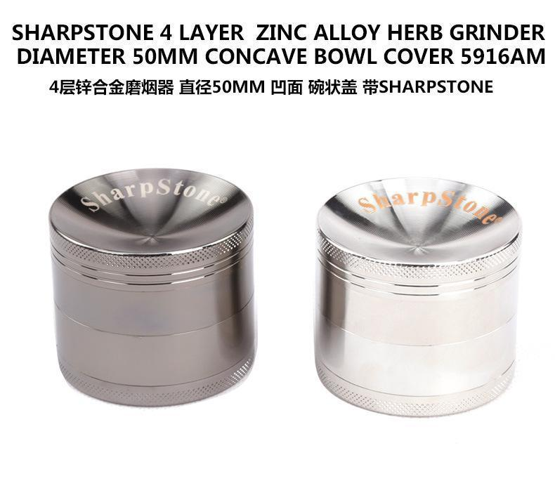 Grinders With Sharpstone 40/50/55/63mm Herb Grinders 4 Layers sharpstone grinders Zinc Alloy Concave Surface