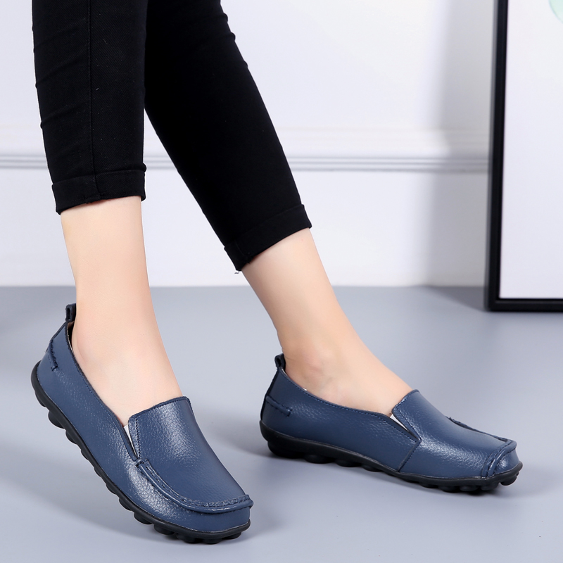 2020 Spring Autumn Plus Size Casual Round Toe Women`s Shoes New PU Leather Flat Shoes Comfortable Slip-on Ladies Flats VT998 (13)