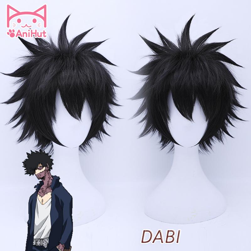 AniHutDabi My Hero Academia Cosplay Wig Synthetic Black Hair Anime Boku No Hero Academia Cosplay Wig Dabi Hair Heat Resistant CX200817