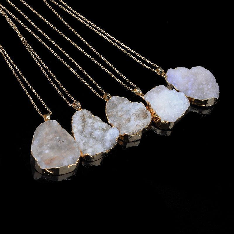Scott Druzy Quartz Necklace Irregular Natural Stone Pendant Necklaces Chakra Gemstone Pendants Gold Chain for Women Jewelry Drop Shipping