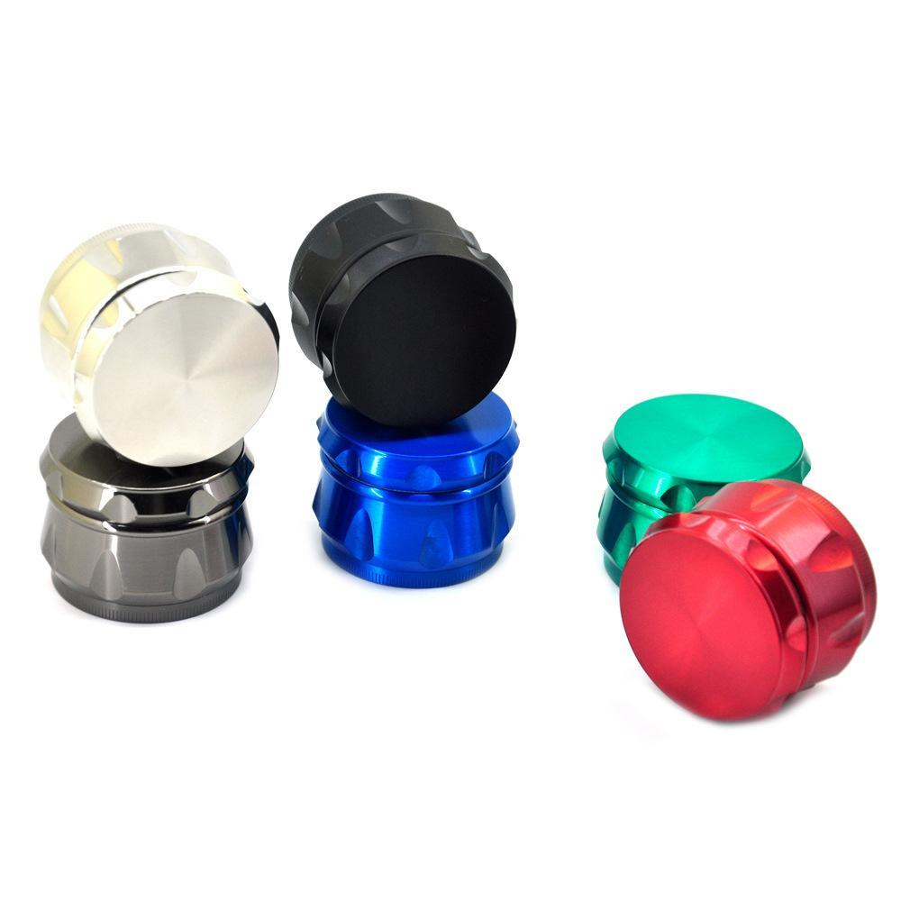 High Quality Rainbow Chamfer Herb Grinder Drum Shape 4 Layers 40mm Diameter Color Zinc Alloy Tobacco Crusher Metal Grinders