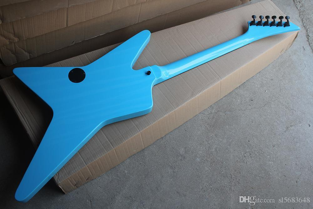 ! Wholesale High Quality Blue Unusual Shape Electric Guitar with Black Hardware,Rosewood Fretboard,0521