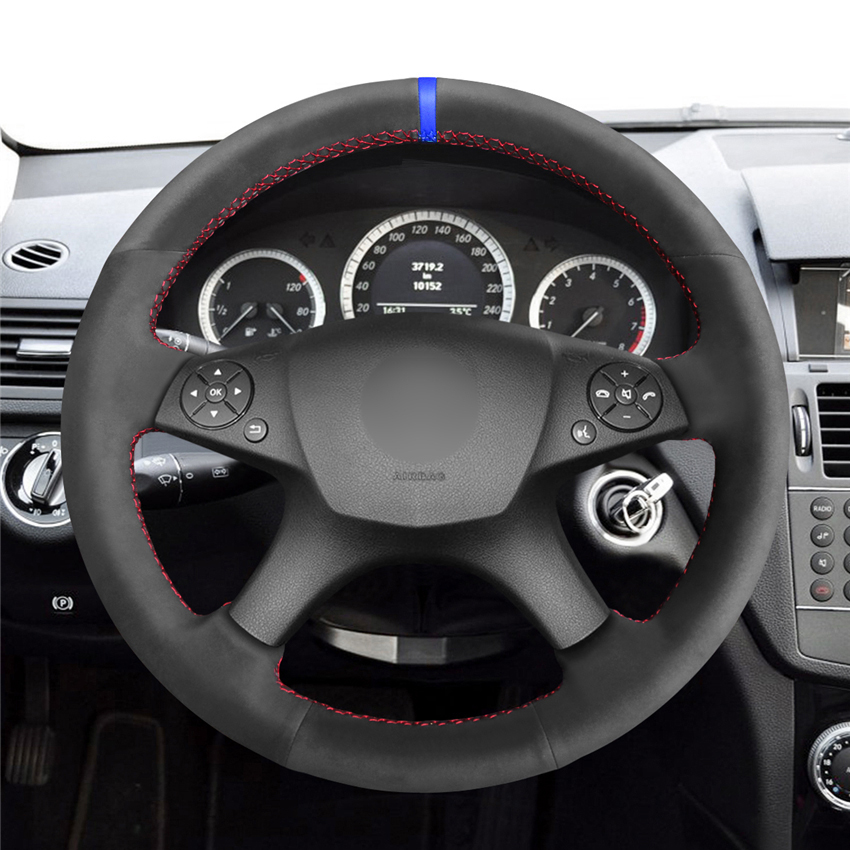 MEWANT-Black-Synthetic-Suede-Car-Steering-Wheel-Cover-for-Mercedes-Benz-W204-C-Class-2007-2010-1