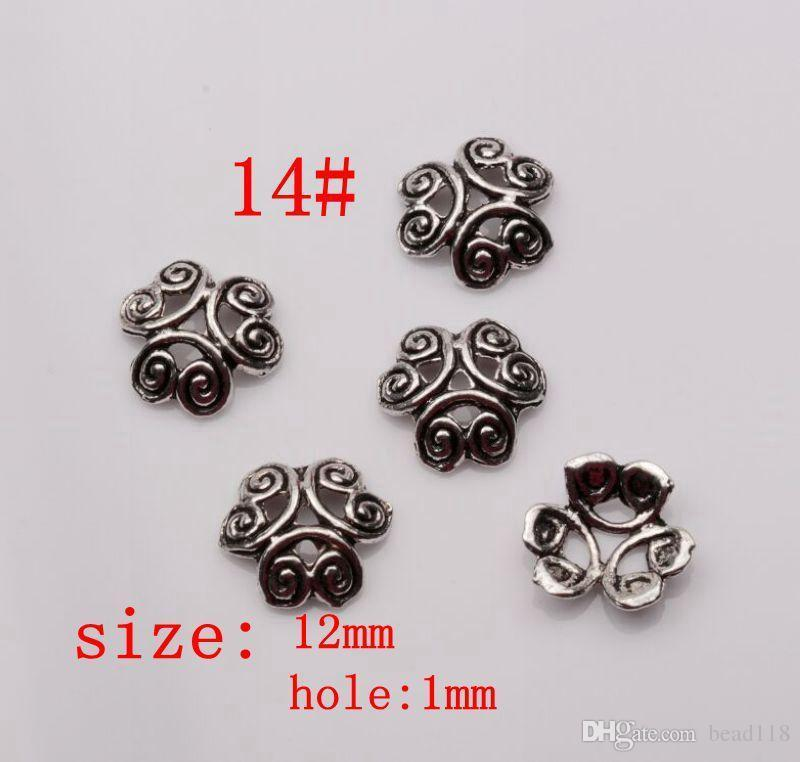 Hot ! Antique silver Alloy 14- Style Flower Bead Cap Jewelry Accessories mm30
