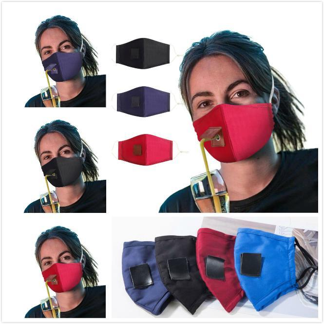 Fashion Face Mask Straw with Hole Design Adjustable Washable Reusable Protective Masks Dust-proof Windproof Cycling Cotton Mask