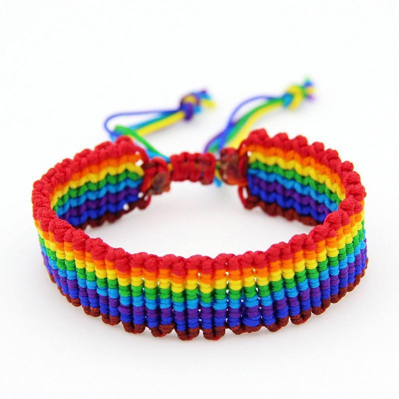 Best Selling Bohemian Style Mens and Womens Adjustable Handmade Colorful Woven Bracelet Rainbow Cotton Cord Bracelet