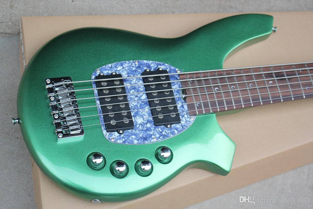 ! Wholesale Factory Metal Green Electric Bass Guitar with 6 Strings,Chrome Hardware,2 Open Pickups 0527