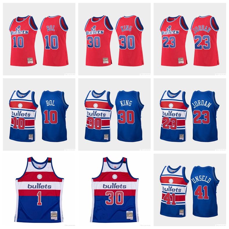 Men Washington Bullets 23 Jordan Strickland Ben Wallace 10 BOL 30 king Mitchell&Ness 1996-97 Hardwoods Classics Swingman Jersey