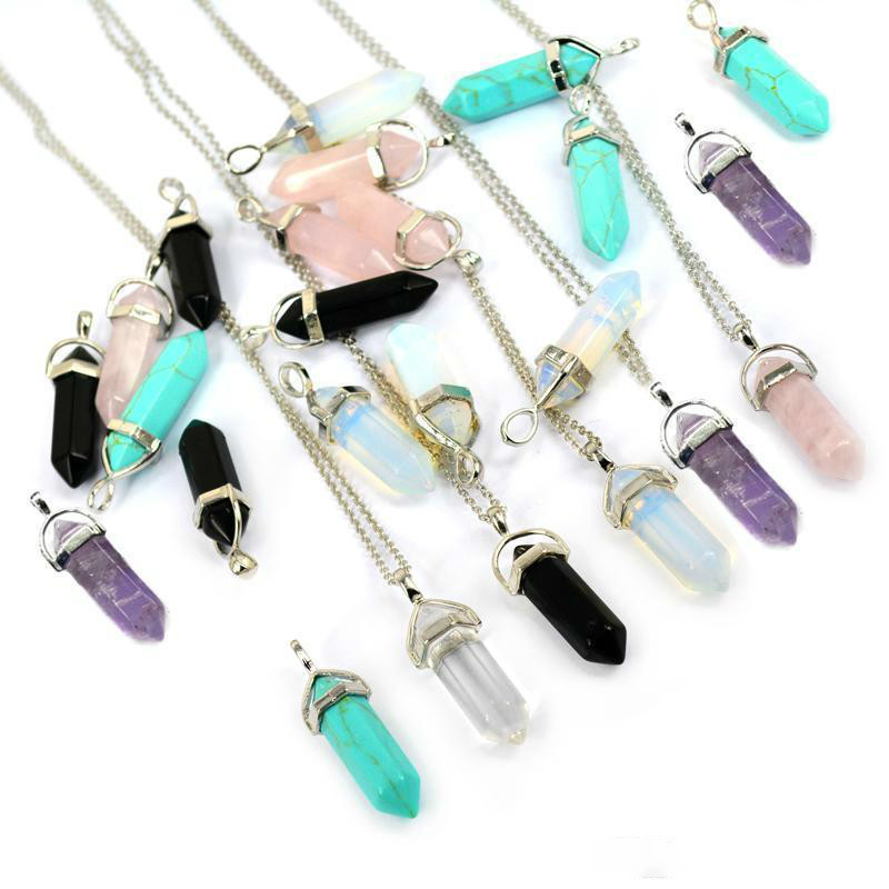 Bullet Shape Real Amethyst Natural Crystal Quartz Healing Point Chakra Bead Gemstone Opal stone Pendant Chain Necklaces Jewelry WCW082
