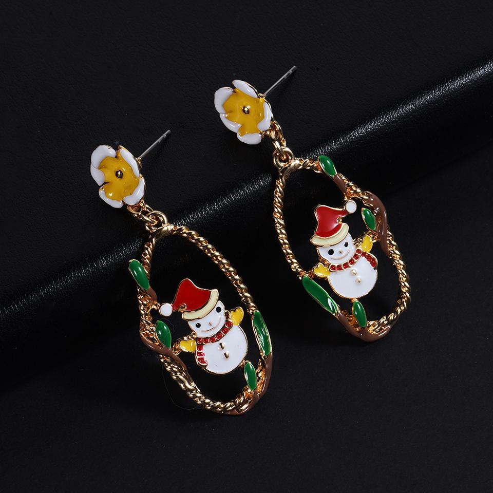 Cring Coco Fashion Christmas Snowman Drop Earrings for Women Girls Lovely Colorful Enamel Teens Lady Jewelry Big Charm Earrings