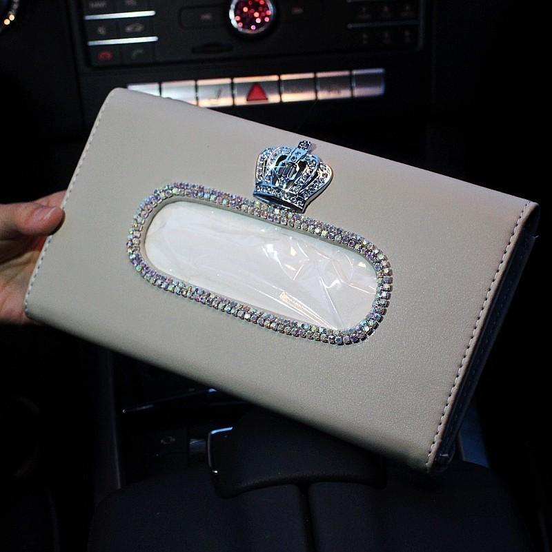 Cute-Crystal-Car-sun-visor-Tissue-box-Auto-accessories-holder-Paper-napkin-clip-PU-leather-Case-36