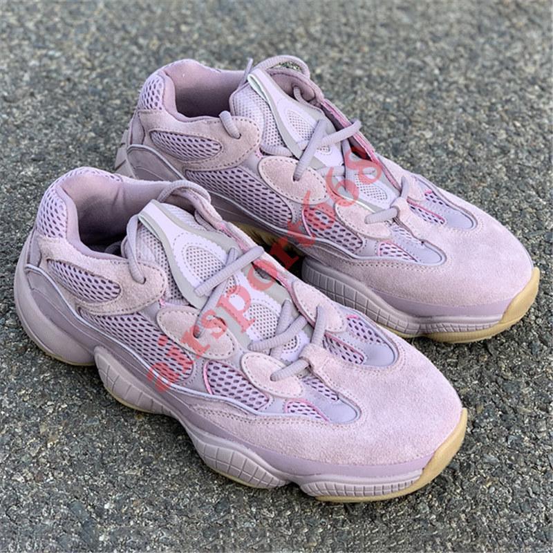 With box desert rat 500 kanye west reflective running shoes soft vision stone bone white utility black salt blush men women trainer Sneakers