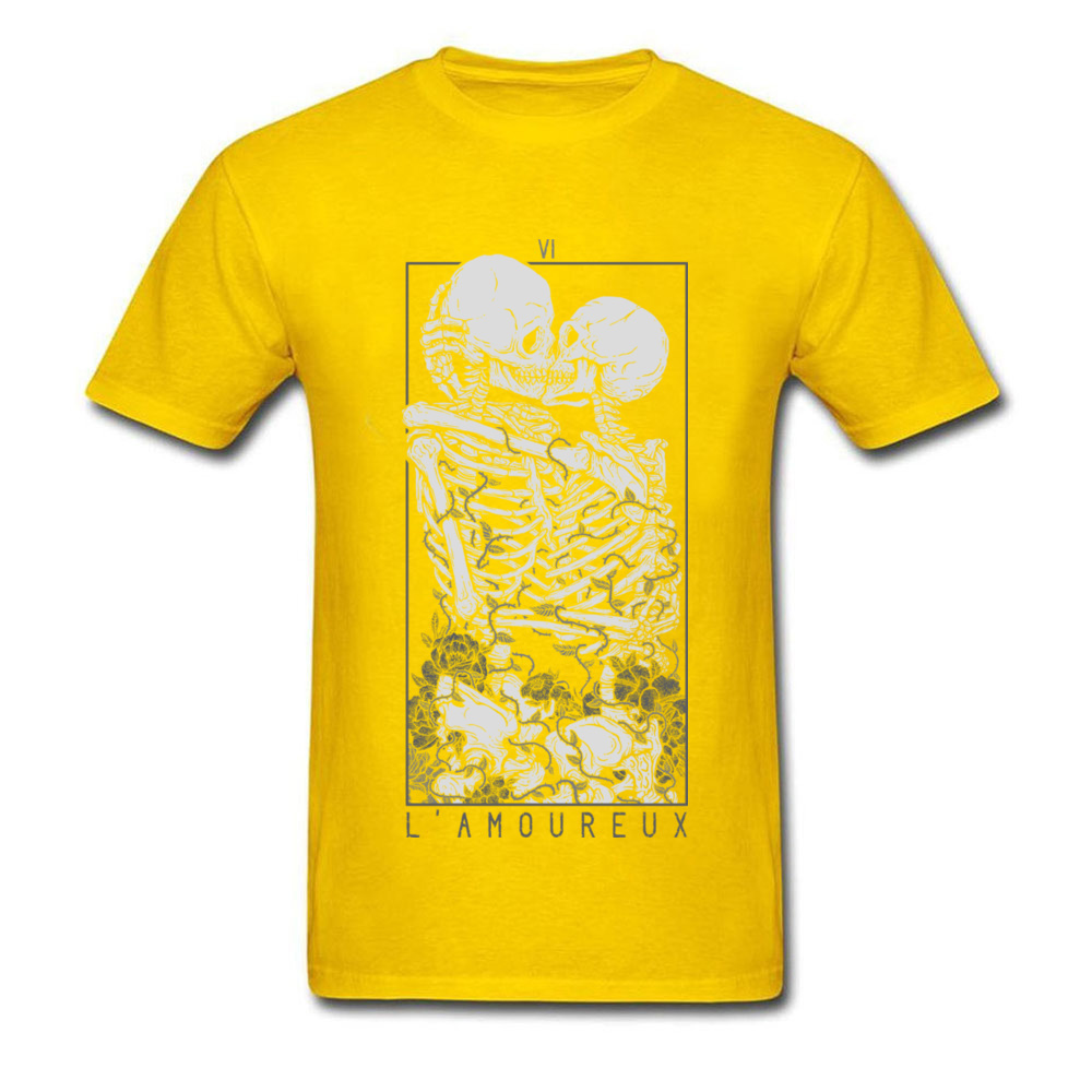 The Lovers Summer Autumn Pure Cotton Crew Neck Tees Short Sleeve Summer Clothing Shirt New Design Design T Shirt The Lovers yellow