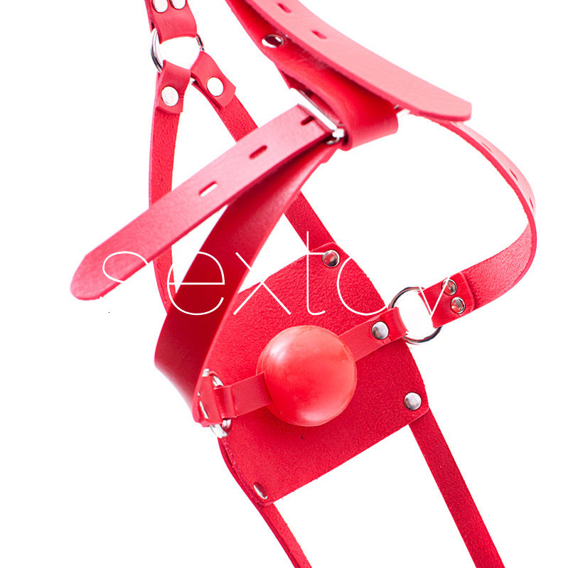 PU Leather Open Mouth Gag Head Harness Bondage Restraints Sexy Mask With Ball Gaged Adult Sex Toys For Couple Sex Products