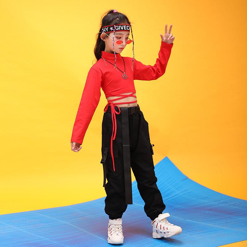 Kids Hip Hop Clothing High Neck Sweatshirt Shirt Top Crop Black Running Casual Pants for Girl Jazz Dance Costume Dancing Clothes (4)