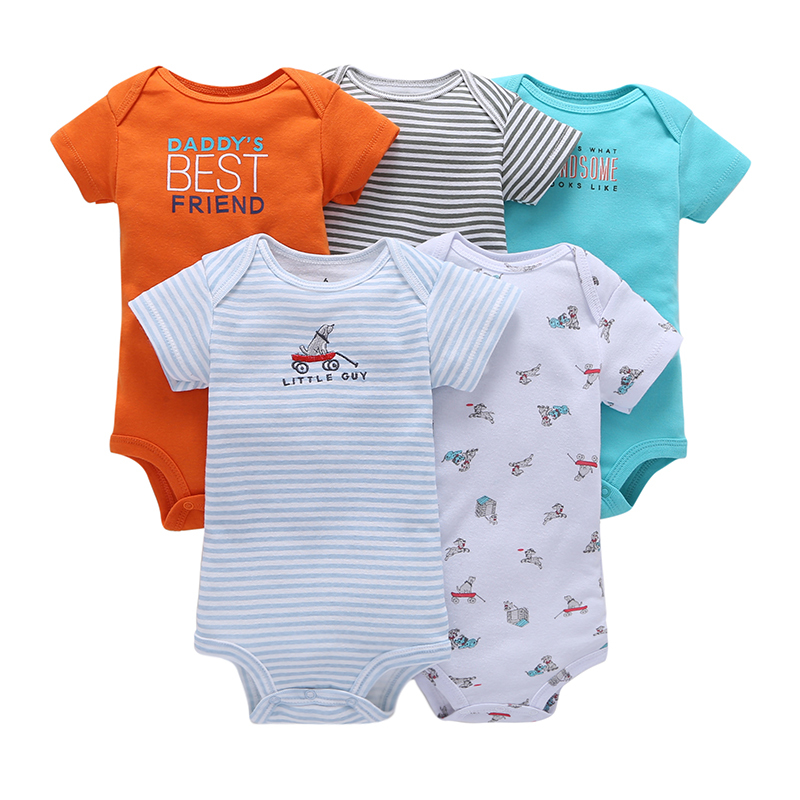 autumn Unisex newborn baby boy clothes cotton short sleeves rompers roupa infantil cute baby girls outfit 5pcs sets 0-24m