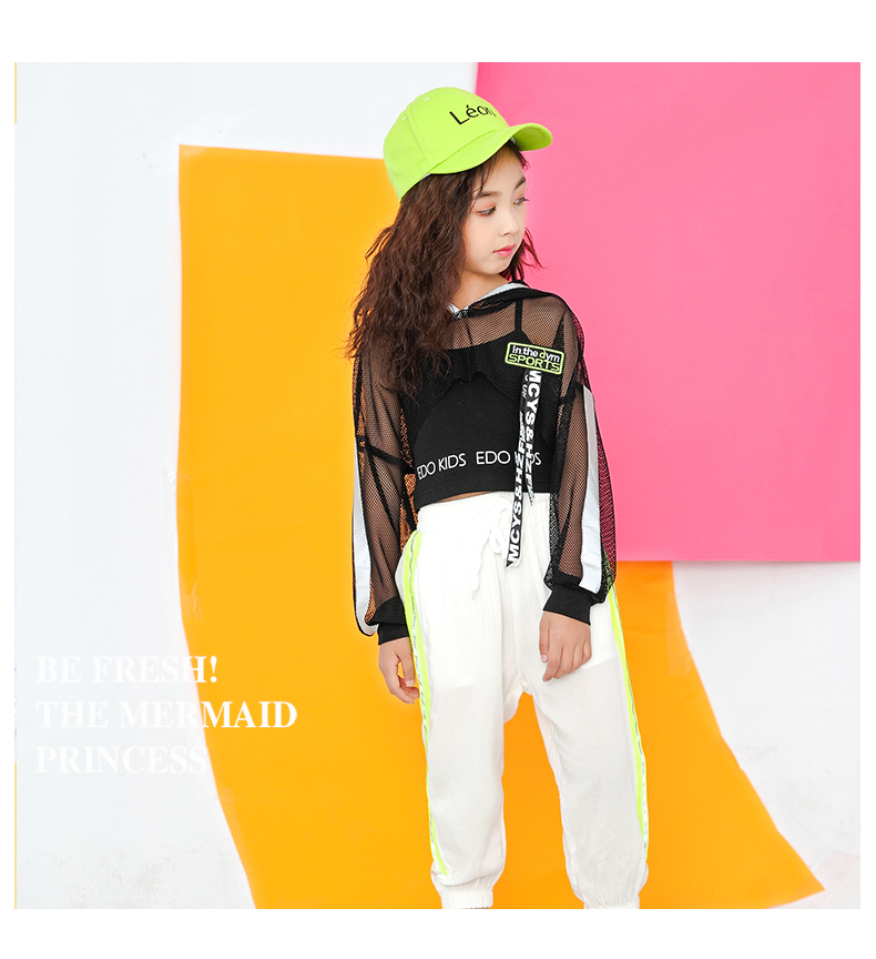 Toddler Girls Oversize Full Sleeve Hoodies Hip Hop Ballroom Jazz Dance Costumes Kids Boy Skirttrousers Clothing Set Team Wear (15)