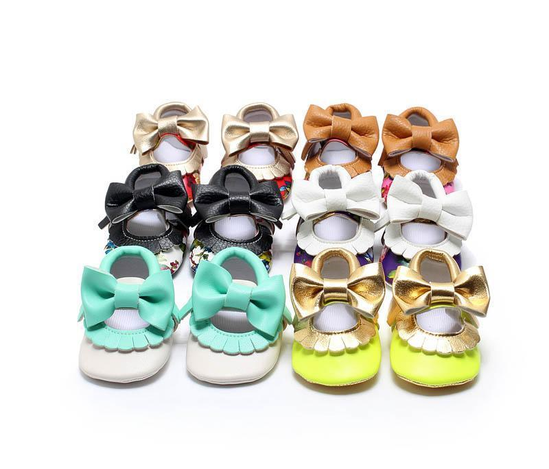 Baby flower paillette moccasins soft sole PU leather first walker shoes children newborn Tassels maccasions bow shoes B001