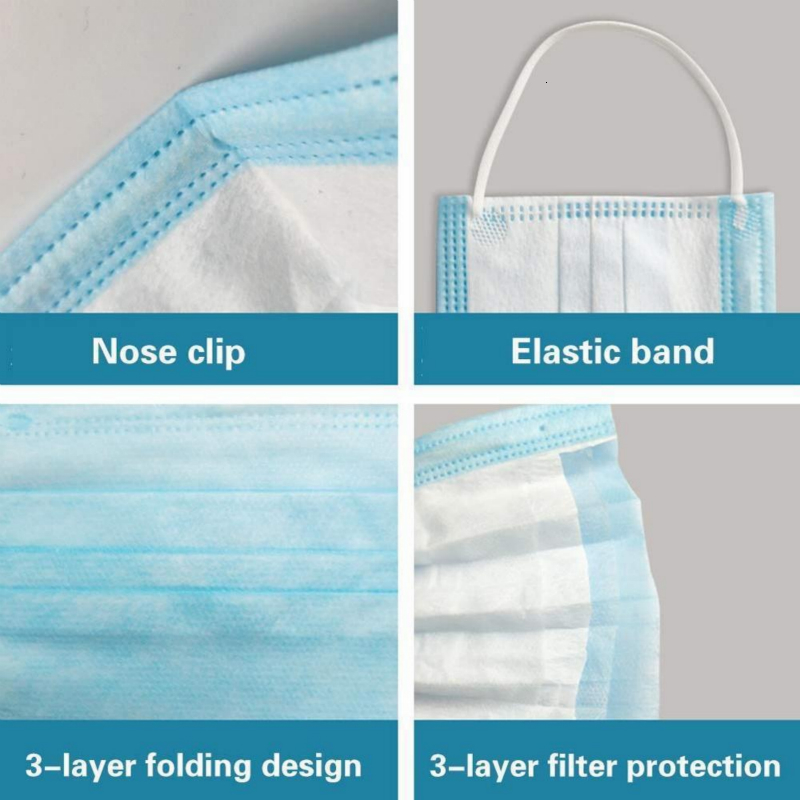 Disposable Face Masks 3 Layer Ear-loop Dust Mouth Masks Cover 3-Ply Non-woven Disposable Dust Mask Soft Breathable outdoor part 1B05