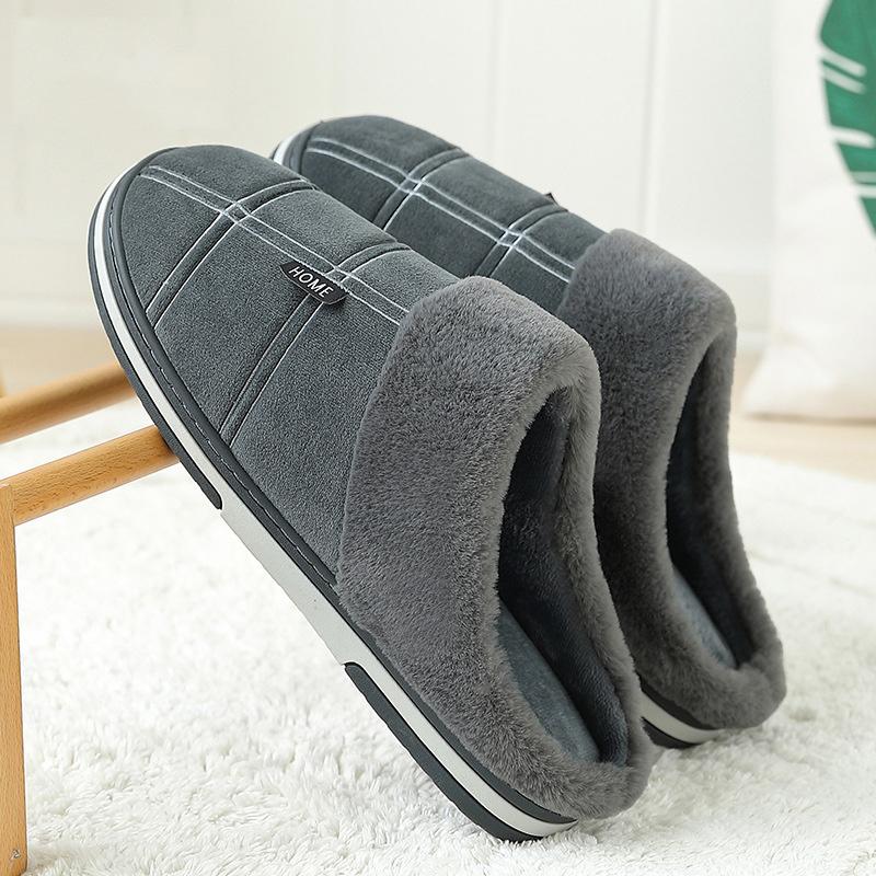 Slippers men Gingham Warm Winter man's slippers Sturdy Sole Light Weight house Slippers man Soft Velvet Indoor Non slip