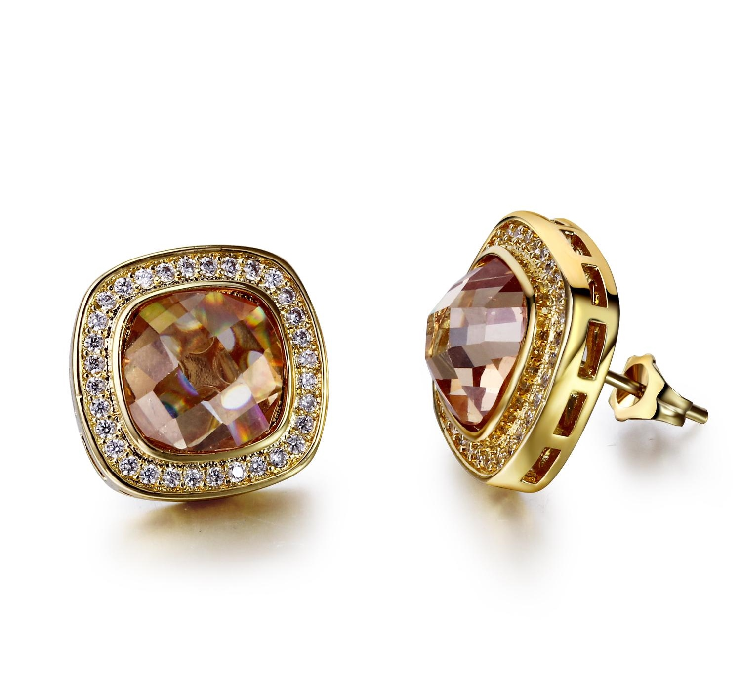 New Fashion Square Earrings In Cubic Zirconia Stones18k Gold Plated Earrings
