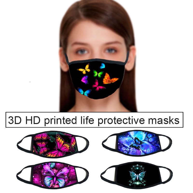 Butterfly pattern 3D printing Designer face mask with cotton reusable face masks Out Door Sport Riding Masks Fashion Designer Mask
