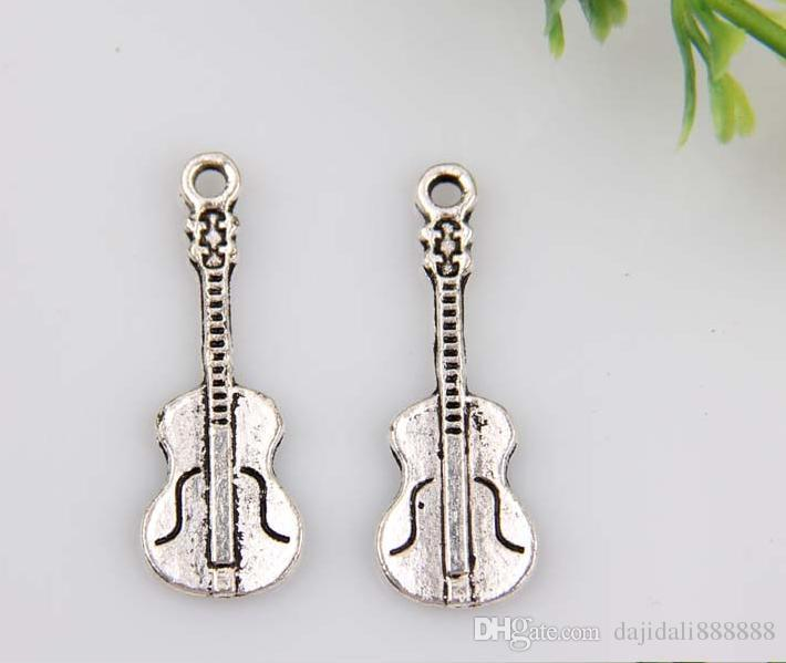Hot ! Antiqued Silver Alloy Guitar Charm DIY Jewelry 27 x 10 mm 380