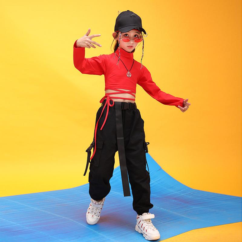Kids Hip Hop Clothing High Neck Sweatshirt Shirt Top Crop Black Running Casual Pants for Girl Jazz Dance Costume Dancing Clothes (2)