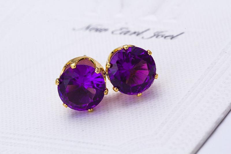 Stud Earrings Wholesale Fashion Round Favorite Design 18 K Gold Plated Studded Candy Crystals CZ Diamond Stud Earring For Women